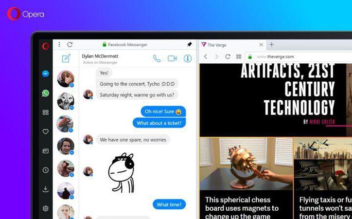 Entre sus nuevas características destaca la inclusión de chats de WhatsApp, Facebook Messenger y Telegram integrados directamente en el navegador. (Opera).