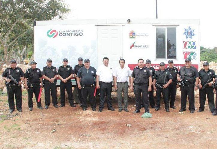 Agentes de la policía municipal estarán instalados de manera permanente en la caseta de vigilancia. (Cortesía/SIPSE)
