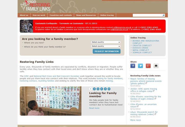El sitio www.familylinks.icrc.org el cual anteriormente funcionaba solamente durante crisis concretas como el terremoto en Haití o el tsunami en Japón. (familylinks.icrc.org)