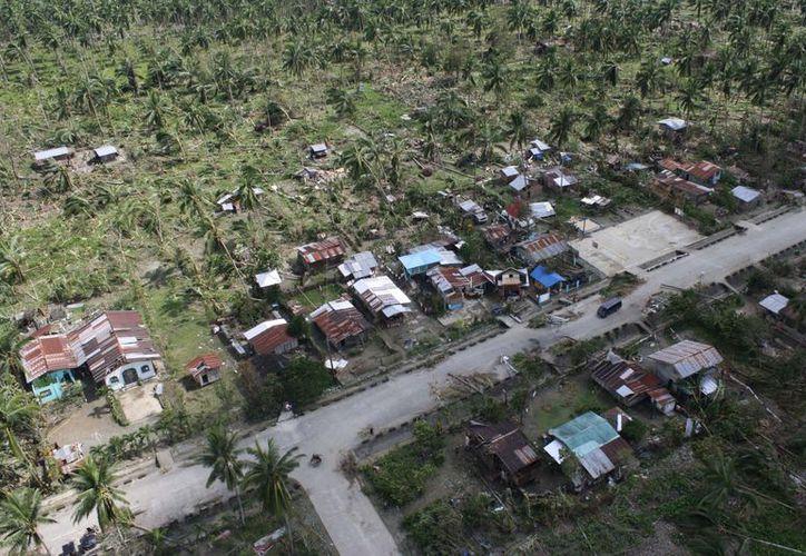 Vista aérea de árboles caídos y casas dañadas en la provincia del Valle de Compostela, en el sur de Filipinas ante el paso del poderoso tifón. (Agencias)