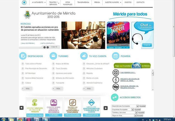 Pagina web del ayuntamiento de Mérida, donde cualquier ciudadano puede consultar información de la comuna capitalina. (SIPSE).
