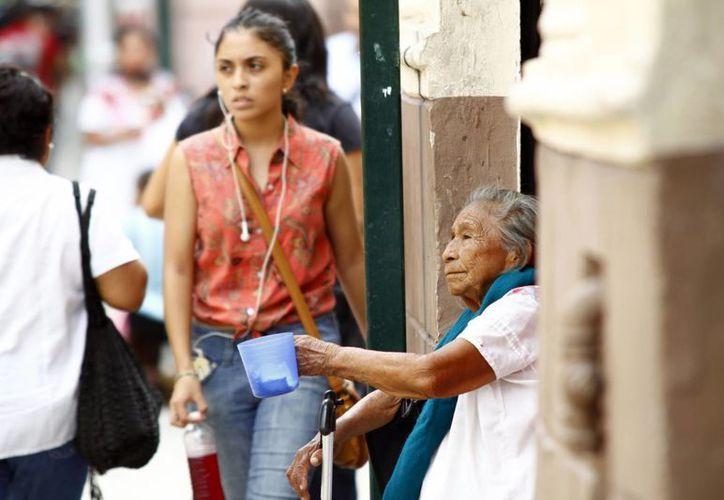 En pleno corazón de Mérida personas de la tercera edad piden limosna a los transeúntes. (SIPSE)