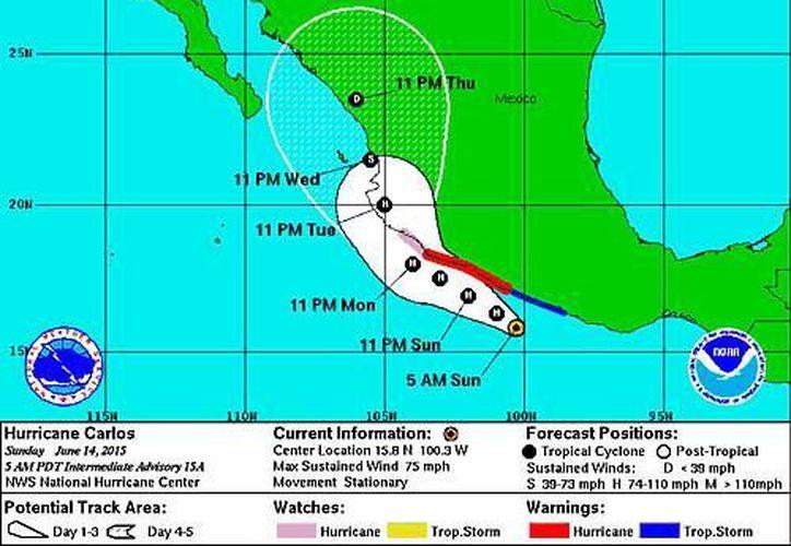 Además de las lluvias, el huracán Carlos causará intenso oleaje en los estados de Michoacán, Colima y Guerrero. (nhc.noaa.gov)