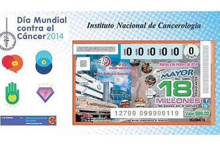 Los boletos conmemorativos de la Lotería Nacional en honor al Incan están en tres series del premio mayor de 18 millones de pesos. (Especial)