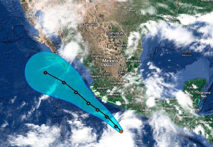 Posible trayectoria de la tormenta tropical 'Polo', en el océano Pacífico. Las lluvias han causado algunos daños en Oaxaca.  (Twitter/@David_Korenfeld)
