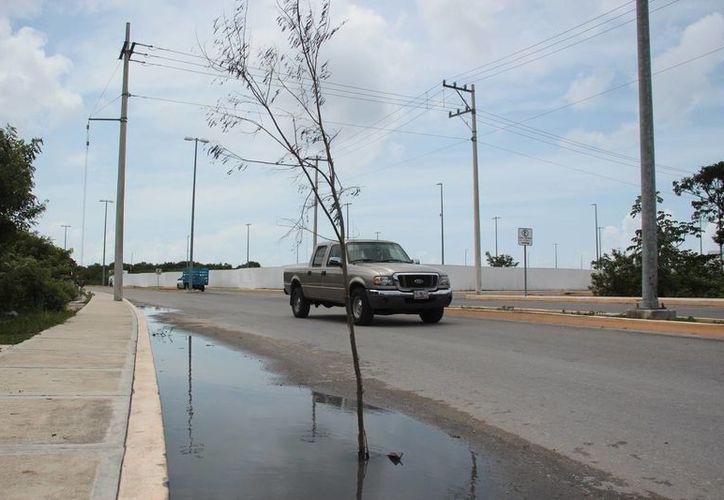 La tapa de la alcantarilla cedió ante el peso de los camiones de carga que se estacionan sobre ella. (Gustavo Villegas/SIPSE)