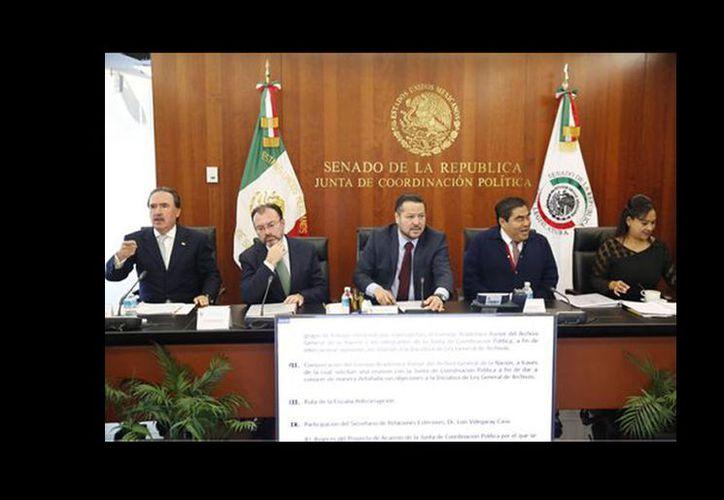 El canciller Luis Videgaray está reunido con los miembros de la Junta de Coordinación Política del Senado. (Milenio)