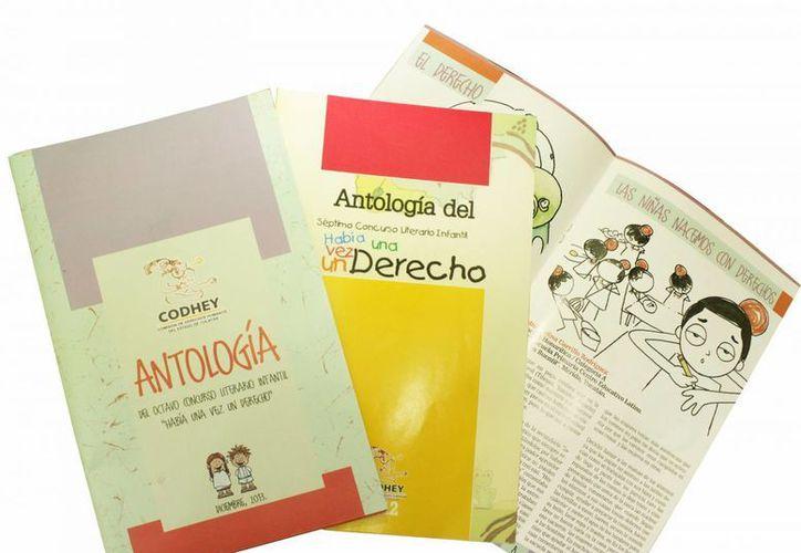 Libros donde se han publicado los trabajos de los concursos literarios infantiles a los que ha convocado la Codhey. (Cortesía)