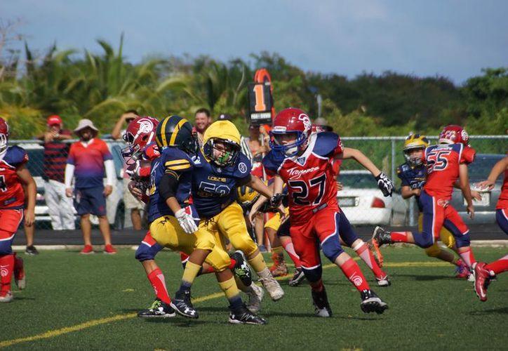 """En la Juvenil """"A"""", Caballeros llega a la final tras vencer 22-6 a los Lagartos de Cancún, mientras que Lobos hizo lo propio ante Tigres de Mérida. (Raúl Caballero/SIPSE)"""