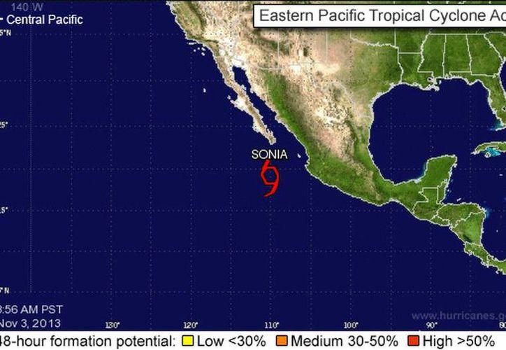 Sonia llevará intensas lluvias a los estados del noreste mexicano. (nhc.noaa.gov)