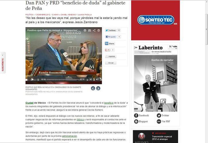 Ramón Sosamontes, integrante de Concertación Mexicana, calificó como bueno que Peña Nieto no haya incluido a 'dinosaurios' en su gabinete. (Captura de pantalla de Milenio)