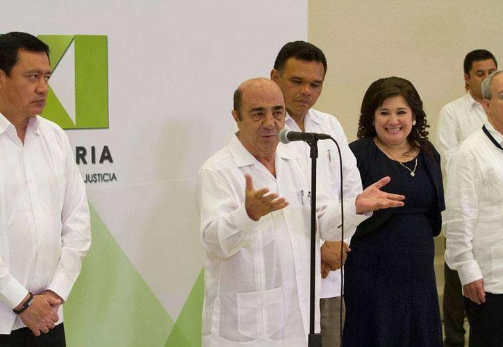 Jesús Murillo Karam estuvo en Mérida en la ceremonia de clausura de la XXXI Asamblea Plenaria de la Conferencia Nacional de Procuración de Justicia. (Notimex)
