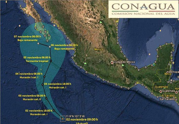 Anuncia Conagua que el meteoro se ubica al sur-suroeste de Manzanillo con vientos de 130 km/h. (@conagua_clima)