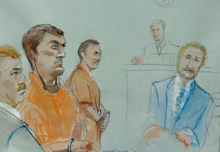 Dibujo del juicio de 2006 en la corte federal de San Diego, California, del jefe del cártel de Tijuana Francisco Javier Arellano Félix, cuya sentencia de cadena perpetua fue rebajada a 23 años. (EFE/Archivo)