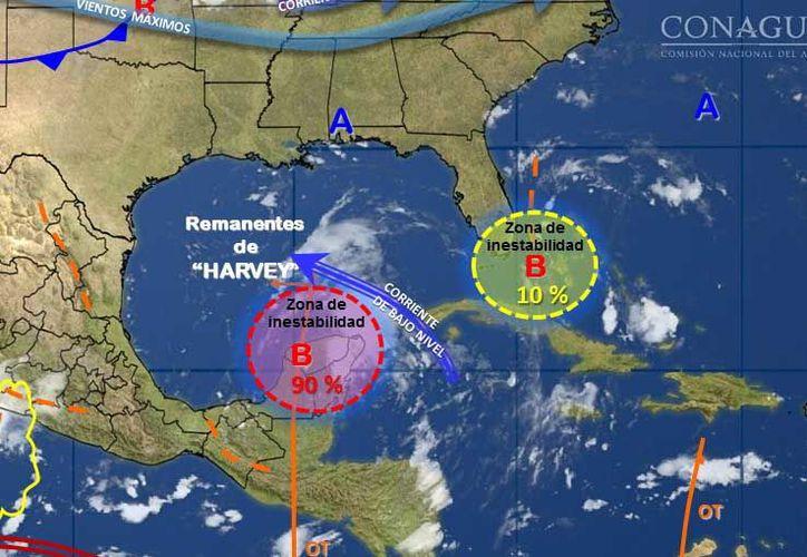 """Para mañana se prevé que la tormenta """"Harvey"""" continúe su desplazamiento hacia el sur de la Península de Yucatán. (Conagua)"""