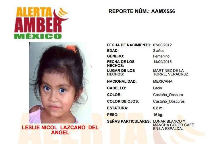 Leslie Nicol Lazcano del Angel, buscada a través de la alerta Amber, podría ser llevada por su victimario a Estados Unidos.