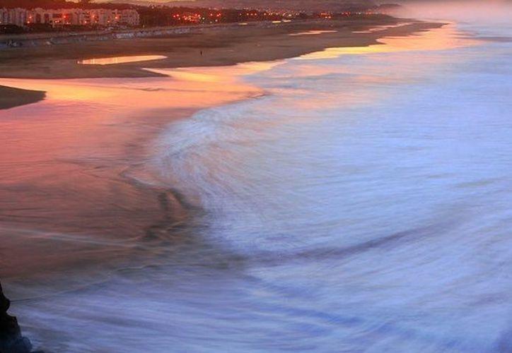 Los microorganismos brillan a lo largo de la superficie de la ola cuando se estrella junto a la costa. (Pxhere)