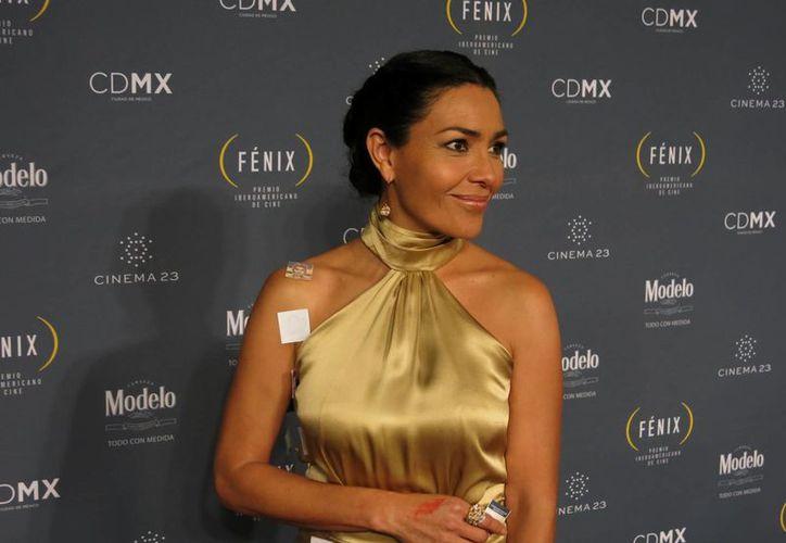 La actriz mexicana Dolores Heredia se manifestó durante la entrega de Premios Fénix con un atuendo que encima tenía imágenes pequeñas de los normalistas desaparecidos. (Foto: AP)