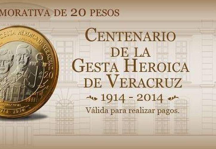 El reverso de la moneda conmemorativa de la Gesta de Veracruz lleva grabados los retratos de Virgilio Uribe y José Azueta con el edificio de la Escuela Naval Militar debajo. (Facebook/Difusión Banxico)
