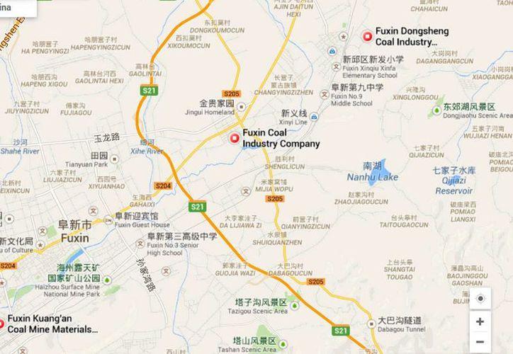 Ubicación de la mina de carbón de la empresa estatal Fuxin Coal Corp, en la provincia de Liaoning, donde ocurrió el accidente. (Google Maps)