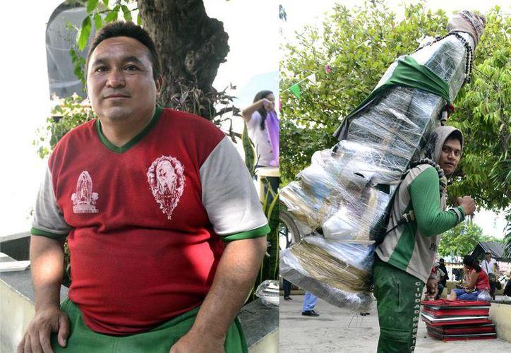 Ignacio Euán salió de Acanceh rumbo a Monterrey para viajar en bicicleta hasta Mérida. Víctor Dzul (der) salió de Dzununcán a la Basílica de Guadalupe. (Daniel Sandoval/Milenio Novedades)