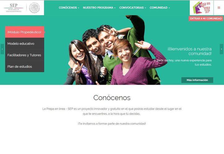 Imagen del sitio web del nuevo servicio de bachillerato en línea de la SEP. (prepaenlinea.sep.gob.mx)
