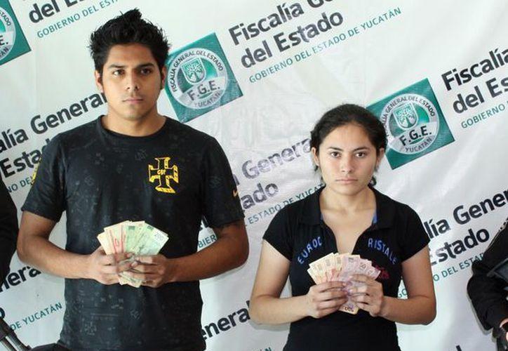 Yanelli Guadalupe Ruiz Chulin y Wilberth Aarón Jiménez Caballero, cayeron porque no supieron dividir el botín . (Cortesía)