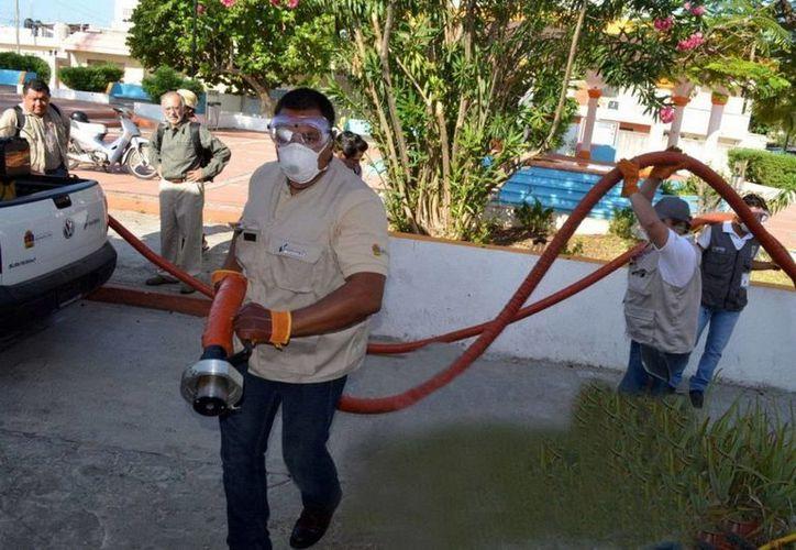 Todos los días se movilizan 500 trabajadores para realizar nebulizaciones. (Cortesía/SIPSE)