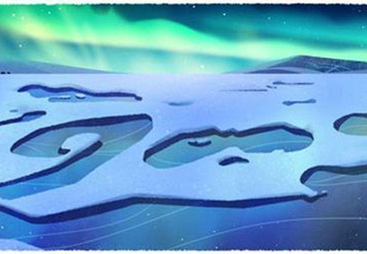 Un oso polar de un ártico en deshielo forma parte de los cuatro doodles con que Google celebra el Día de la Tierra. (google/internet)