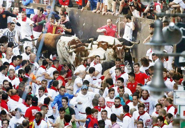 Una manada de toros de la ganadería de Fuente Ymbrofue la protagonista del primer encierro de los sanfermines de 2016. (EFE)
