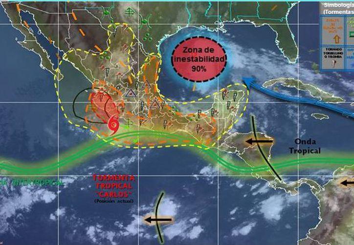 El ciclón tropical Carlos originará lluvias intensas con tormentas eléctricas, granizadas y vientos fuertes en la costa de Michoacán, Guerrero, Jalisco y Colima. (smn.conagua.gob.mx)