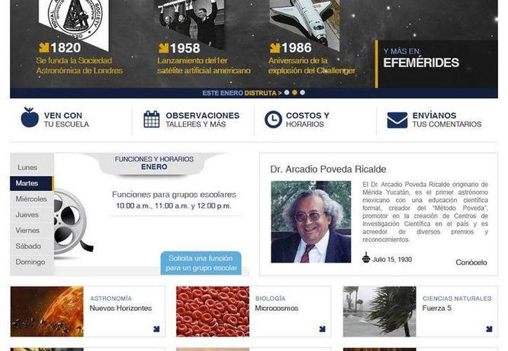 El sitio de Internet del Planetario contiene nuevas secciones. (Milenio Novedades)