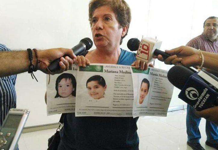En la foto Ligia Canto Lugo al declarar acerca de sus tres nietos sustraídos por el padre. (Milenio Novedades)