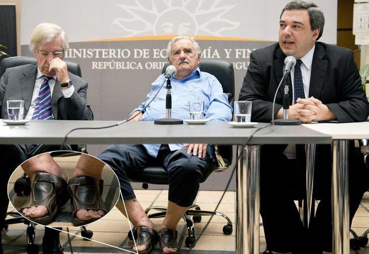 Las imágenes que muestran a Mujica distendido al lado de dos integrantes de su equipo con trajes han sido ampliamente compartidas en las redes sociales. (Agencias)