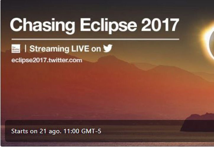 "El evento ""Chasing Eclipse 2017"" estará disponible antes del mediodía del 21 de agosto. (Foto: Captura)"