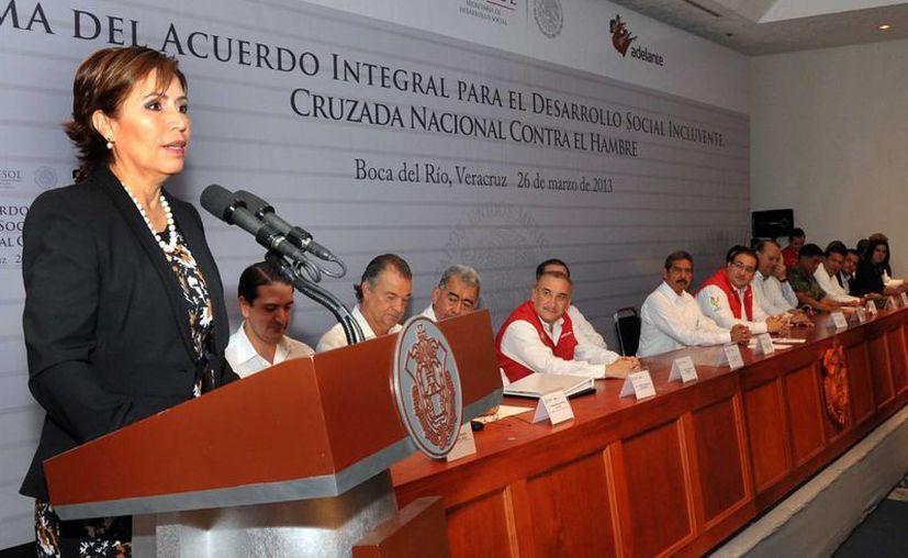 La secretaria de Desarrollo Social, Rosario Robles, en un evento en Veracruz el pasado 26 de marzo. (Archivo/Notimex)