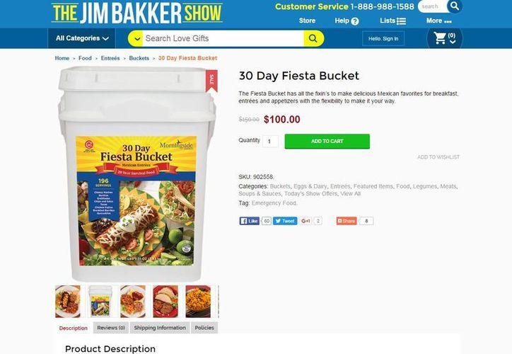 La Fiesta Bucket fue lanzada al mercado el 17 de mayo. Contiene 15 paquetes que sellados pueden durar hasta 20 años, según la compañía de Bakker. (store.jimbakkershow.com)
