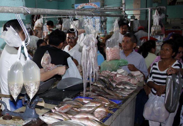En los puestos del mercado hasta hacían fila para comprar. (Juan Albornoz/SIPSE)
