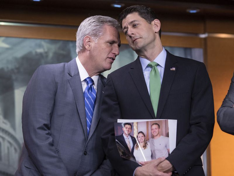 House Majority Leader Kevin McCarthy, R-Calif., and Speaker of the House Paul Ryan, R-Wis., during a press conference following a closed-door GOP meeting on immigration, on Capitol Hill in Washington.