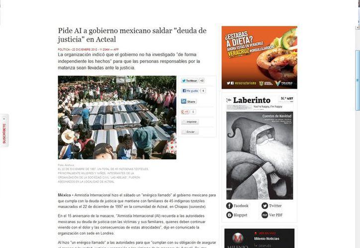 Amnistía Internacional reclama que no se haya hecho una investigación independiente sobre la masacre ocurrida en Acteal en 1997. (Captura de pantalla de Milenio)