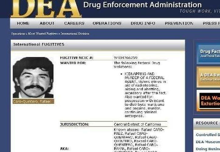Caro Quintero estuvo condenado por el asesinato del agente Enrique Camarena. (Archivo/SIPSE)