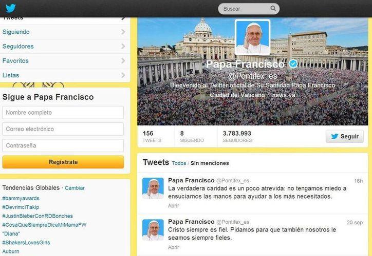 El papa Francisco tiene 3.7 millones de seguidores en español, tres millones en inglés y centenares de miles en francés, alemán, polaco, portugués y árabe. (@Pontifex_es)