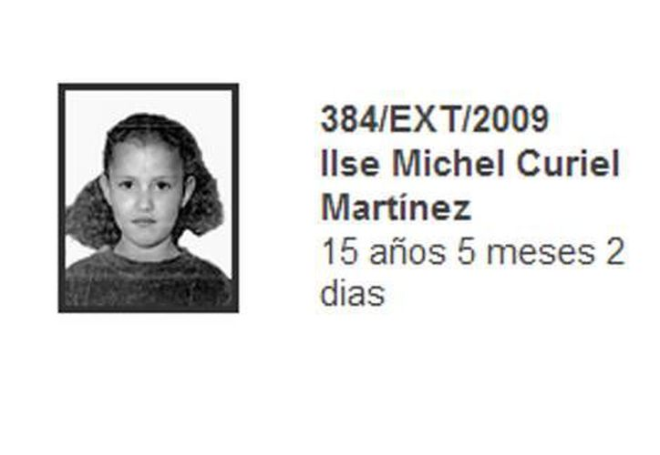 Ilse Michel Curiel Martínez desapareció en 2008 de la casa hogar Casitas del Sur. (PGR)