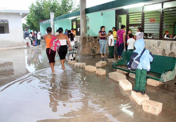 A causa de las lluvias recientes, se inundó de nuevo la primaria 'Bertha María González' de Celestún. (SIPSE)