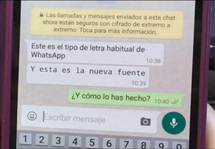 Ahora los mensajes de Whatsapp podrás utilizar otra tipografía a la original. (captura de pantalla/verne.elpais.com)