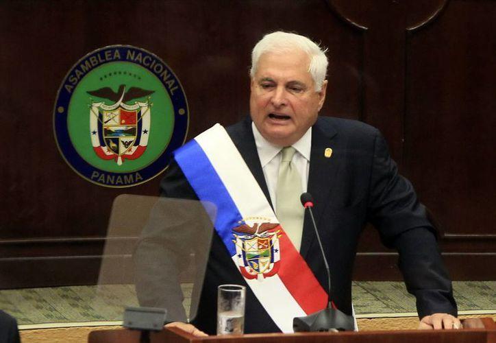 El presidente de Panamá, Ricardo Martinelli durante su último discurso ante el Parlamento. (EFE)
