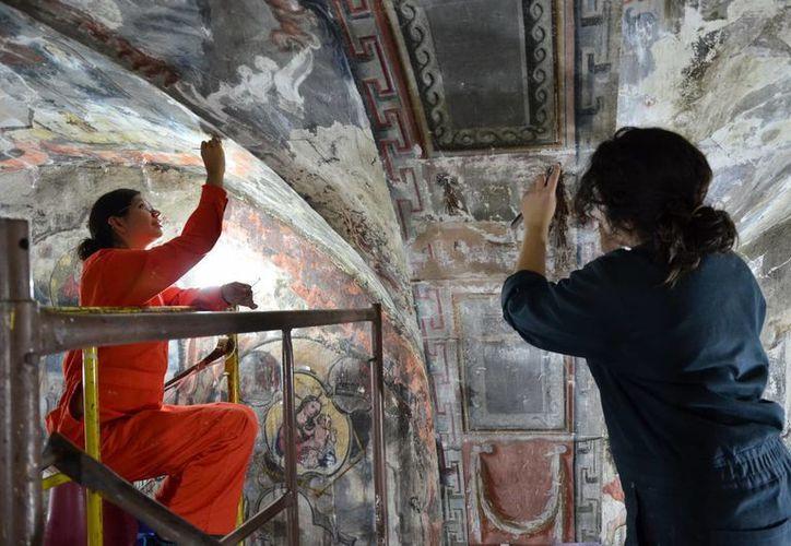 El INAH intervino en la pintura mural de la Capilla de la Letanía, del Templo El Señor del Llanito, a petición de los mayordomos. (Notimex)