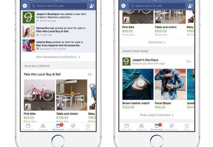 Marketplace de Facebook busca competir con sitios de compra en línea ya establecidos, como eBay. (Facebook)
