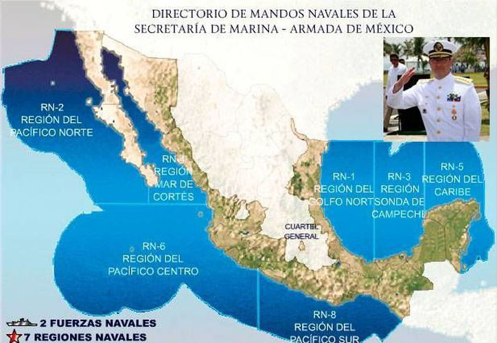 El Directorio de Mandos de la Armada de México ya está actualizado en el sitio web de la Semar. En el recuadro, el titular de la dependencia, almirante Vidal Francisco Soberón Sanz. (Fotocomposición SIPSE.com)