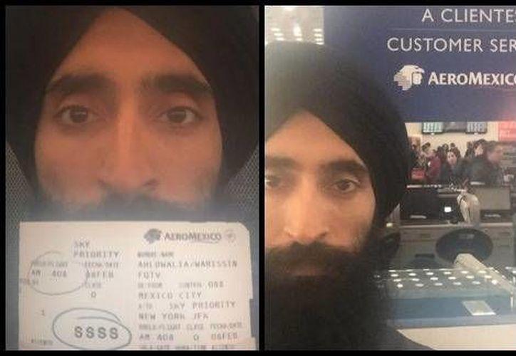La imagen que el actor indio-americano Waris Ahluwalia subió a su cuenta de Instagram, en la que denunció discriminación. (Milenio)